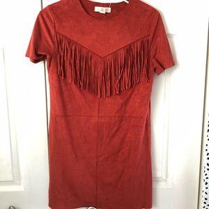 Fringe rust red mini dress
